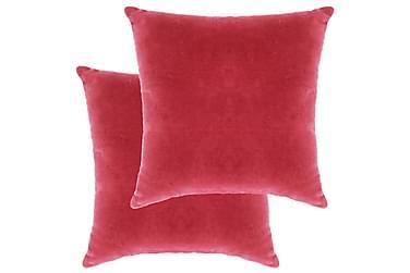 Kuddar 2 st bomullssammet 45x45 cm rosa