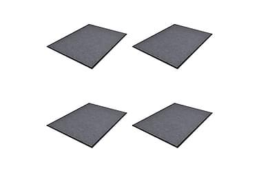 Dörrmatta 4 st PVC grå 90x60 cm