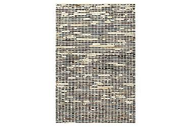 Matta äkta läder 120x170 cm svart/vit