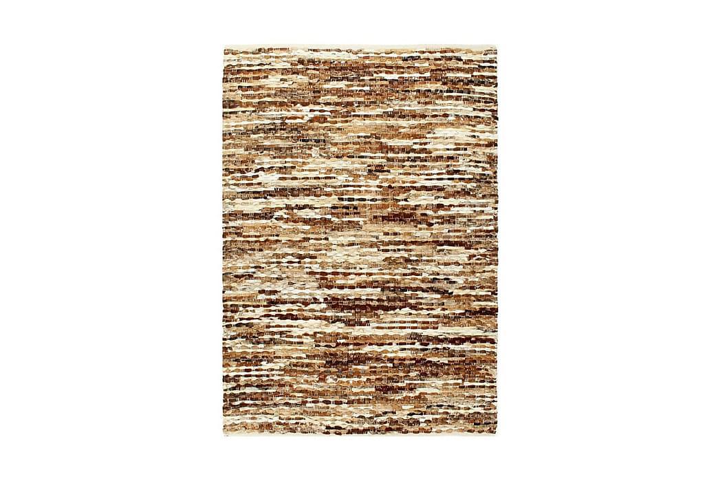 Matta äkta läder 160x230 cm brun/vit - Brun - Inredning - Mattor - Fällar & skinnmattor