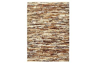 Matta äkta läder 80x150 cm brun/vit