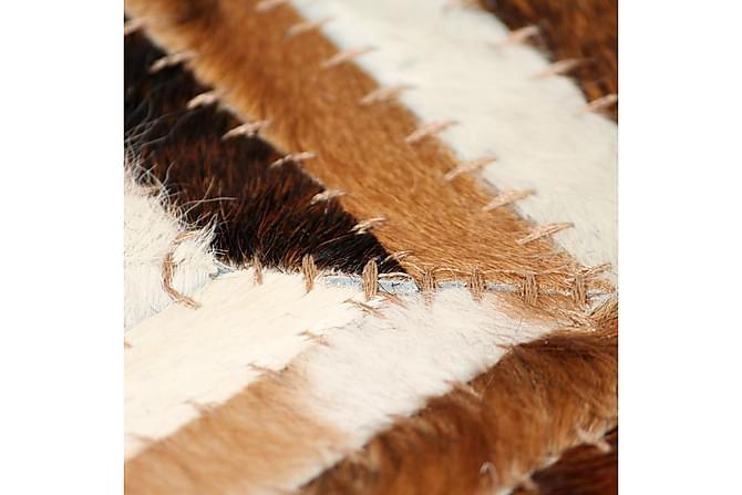 Matta äkta läder lappad fiskbensmönster 80x150 cm brun vit - Inredning -  Mattor - Fällar 7da2394d50f83