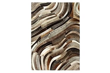 Matta lappverk äkta läder 120x170 cm grå/silver