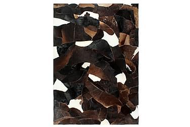 Matta lappverk äkta läder 160x230 cm svart/vit/brun