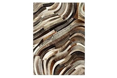Matta lappverk äkta läder 80x150 cm grå/silver
