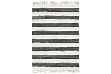 Handvävd matta Chindi bomull 200x290 antracit och vit