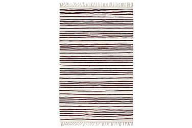 Handvävd matta Chindi bomull 200x290 vinröd och vit