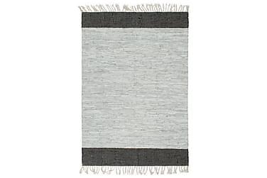 Handvävd matta Chindi läder 120x170 ljusgrå och svart