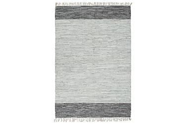 Handvävd matta Chindi läder 160x230 grå
