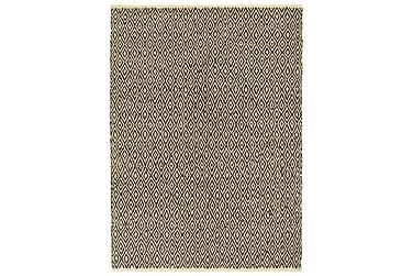 Handvävd matta Chindi läder bomull 80x160 svart
