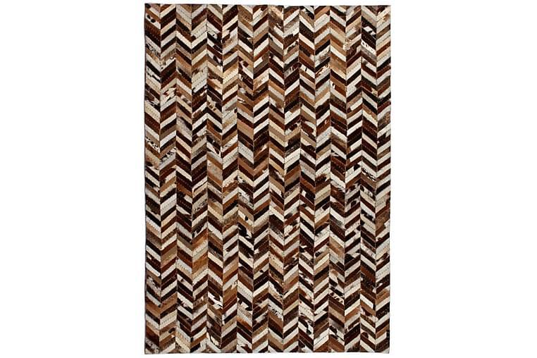 Matta äkta läder lappad fiskbensmönster 120x170 cm brun/vit - Flerfärgad - Inredning - Mattor - Patchwork-matta