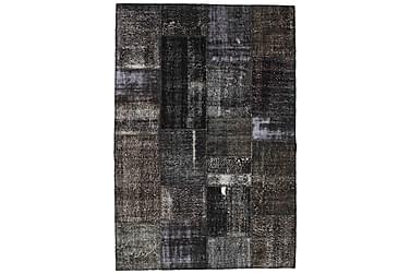 Patchworkmatta Black & White 161x236 Stor Modern