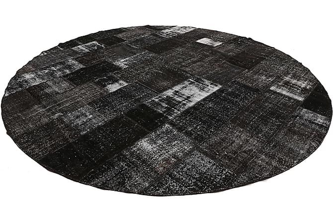 Patchworkmatta Black & White Rund 400 Stor Modern - Grå - Inredning - Mattor - Patchwork-matta