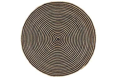 Handgjord jutematta med spiraltryck svart 120