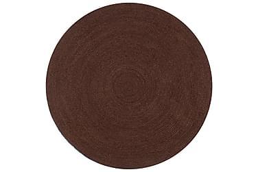 Handgjord jutematta rund 90 brun