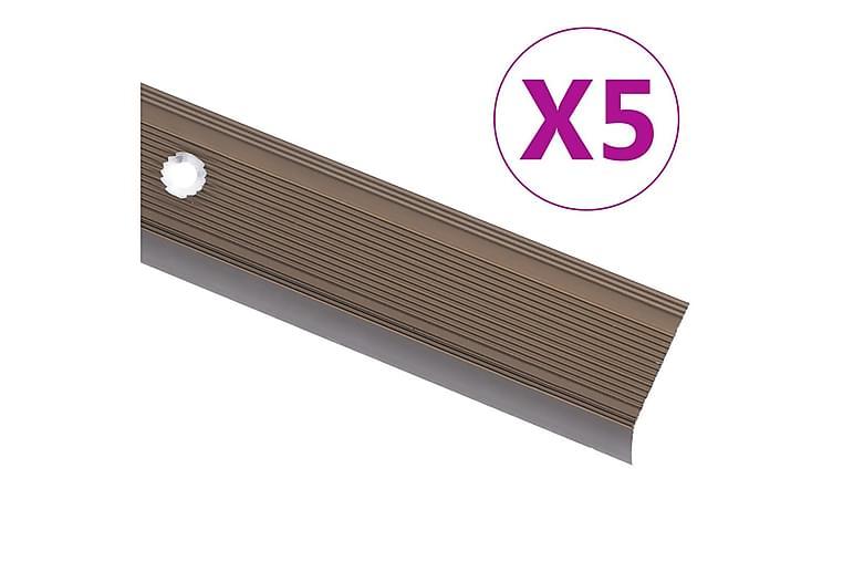L-formade halkskydd för trapp 5 st aluminium 100 cm brun - Brun - Inredning - Mattor - Trappstegsmattor