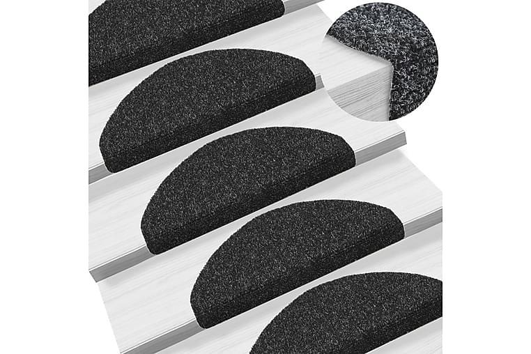 Trappstegsmattor självhäftande 5 st svart 65x21x4 cm brodyr - Svart - Inredning - Mattor - Trappstegsmattor