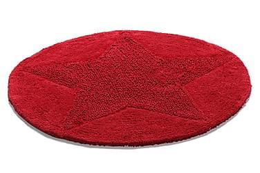 Bomullsmatta Star Rund 55 Vändbar Röd