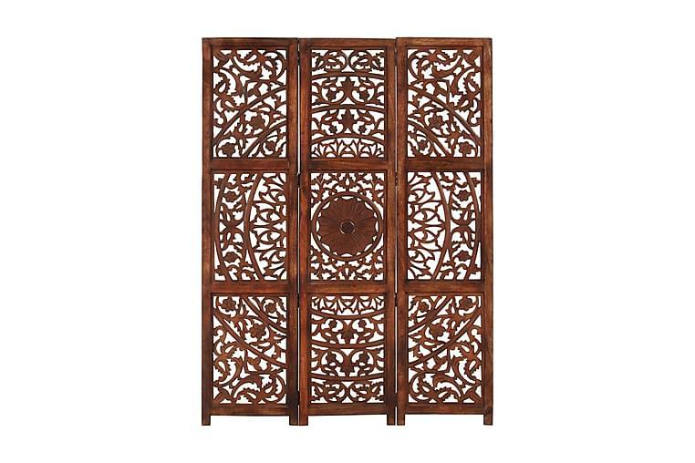 Rumsavdelare 3 paneler handsnidad brun 120x165 cm mangoträ - Brun - Inredning - Småmöbler - Rumsavdelare