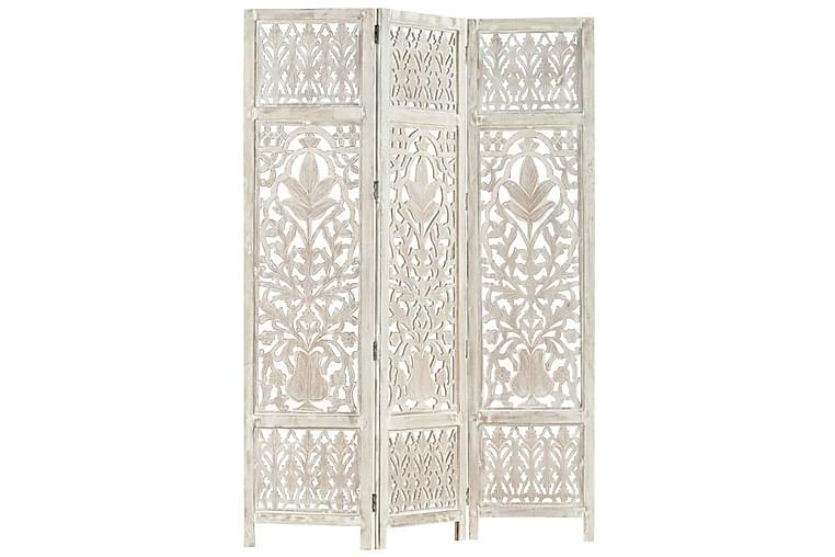 Rumsavdelare 3 paneler handsnidad vit 120x165 cm mangoträ - Vit - Inredning - Småmöbler - Rumsavdelare