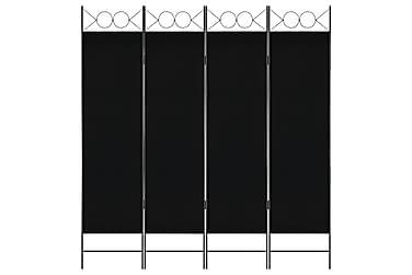 Rumsavdelare 4 paneler svart 160x180 cm
