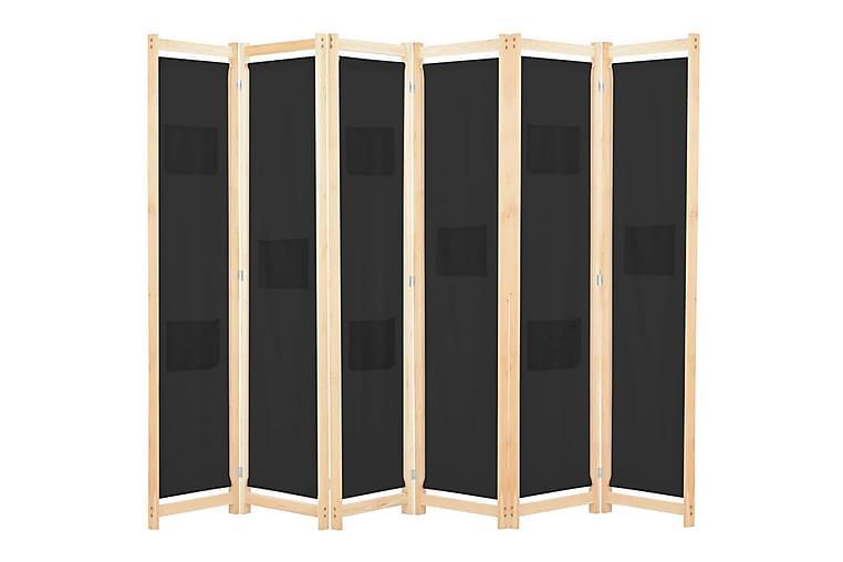 Rumsavdelare 6 paneler 240x170x4 cm svart tyg - Svart - Inredning - Småmöbler - Rumsavdelare