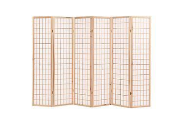 Rumsavdelare med 6 paneler japansk stil 240x170 cm naturlig