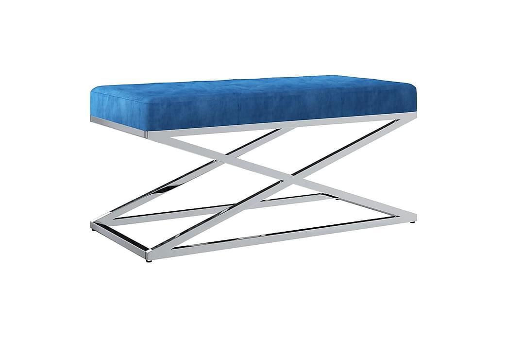 Bänk 97 cm blå sammetstyg och rostfritt stål - Blå - Inredning - Småmöbler - Sittbänk