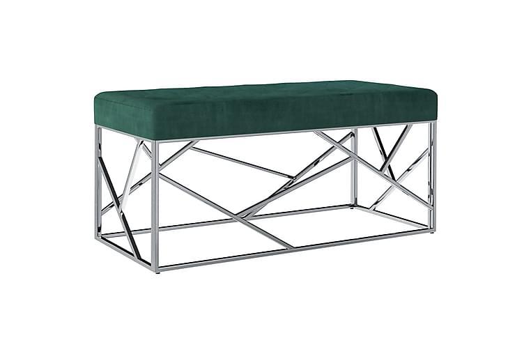 Bänk 97 cm grön sammetstyg och rostfritt stål - Grön - Inredning - Småmöbler - Sittbänk