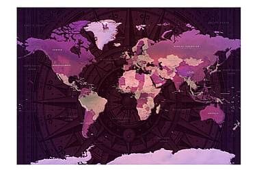 Fototapet Purple World Map 150x105