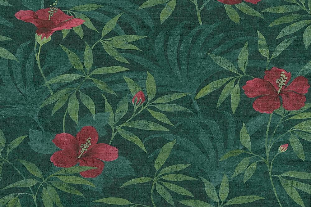 Blommig Tapet Cuba Ovävd Grön Röd - AS Creation - Inredning - Tapeter - Mönstrad tapet