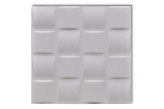 Väggpanel 3D Fyrkantig 24 st paneler 0,5 m x 0,5 m 6 m² - Vit - Inredning - Tapeter