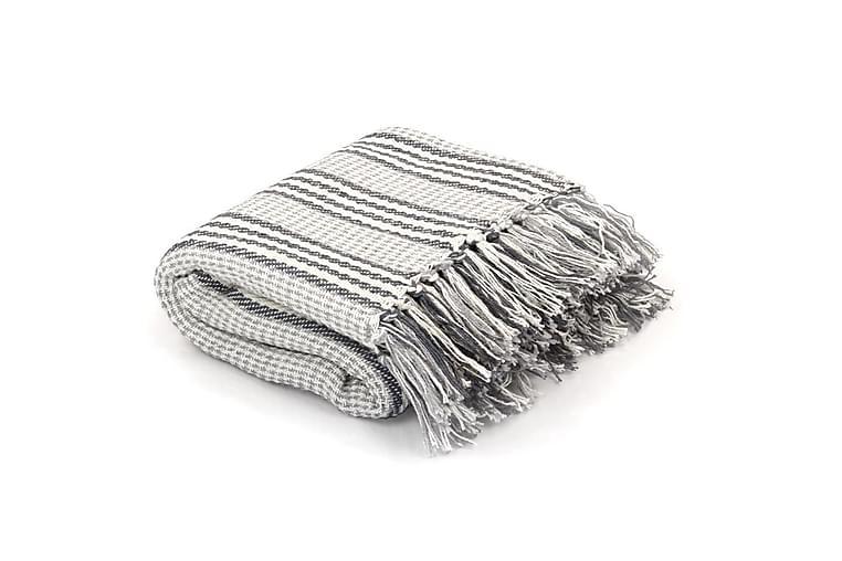 Filt bomull ränder 125x150 cm grå och vit - Grå - Inredning - Textilier - Filtar & plädar