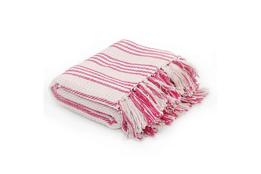 Filt bomull ränder 160x210 cm rosa och vit - Rosa - Inredning - Textilier - Filtar & plädar