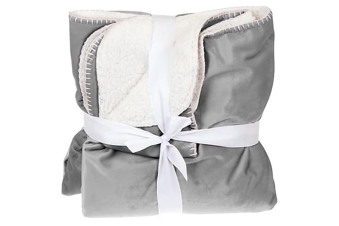 Pläd Chevonne 130x160 cm Sammet/Lammfilt - Grå|Vit - Inredning - Textilier - Filtar & plädar