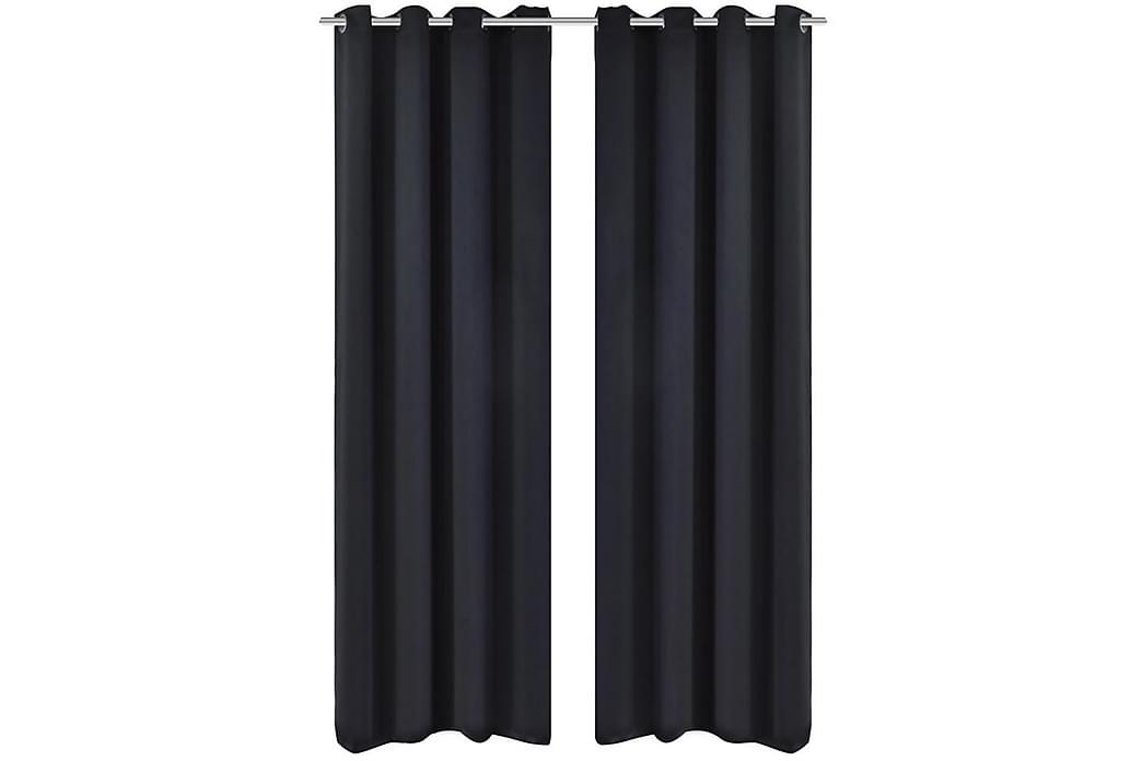 2-pack svarta mörkläggningsgardiner m metallringar 135x245cm - Svart - Inredning - Textilier - Gardiner