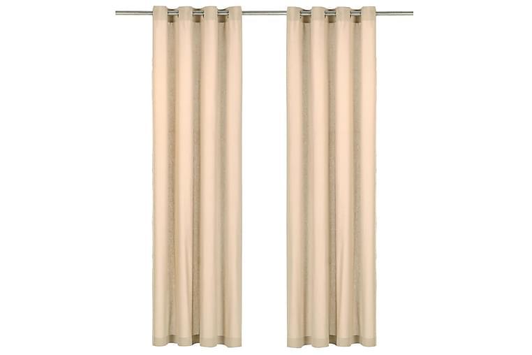 Gardiner med metallringar 2 st bomull 140x175 cm beige - Beige - Inredning - Textilier - Gardiner