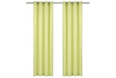 Gardiner med metallringar 2 st bomull 140x175 cm grön
