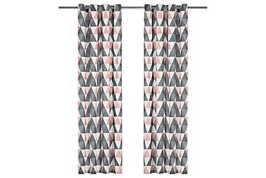 Gardiner med metallringar 2 st bomull 140x175 cm grå & rosa
