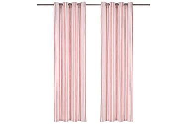 Gardiner med metallringar 2 st bomull 140x245 cm rosa ränder