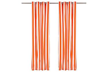 Gardiner med metallringar 2 st tyg 140x225 cm orange ränder