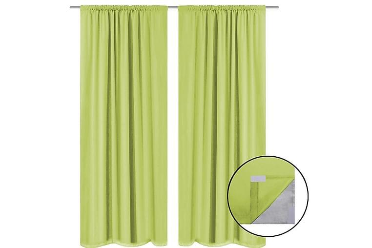 Mörkläggningsgardiner 2 st dubbla lager 140x175 cm grön - Grön - Inredning - Textilier - Gardiner
