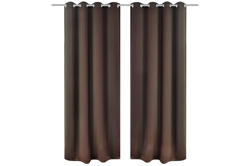 Mörkläggningsgardiner 2 st med öljetter 135x175 cm brun - Brun - Inredning - Textilier - Gardiner