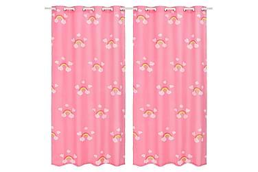 Mörkläggningsgardiner för barn 2 st 140x240 cm regnbåge rosa