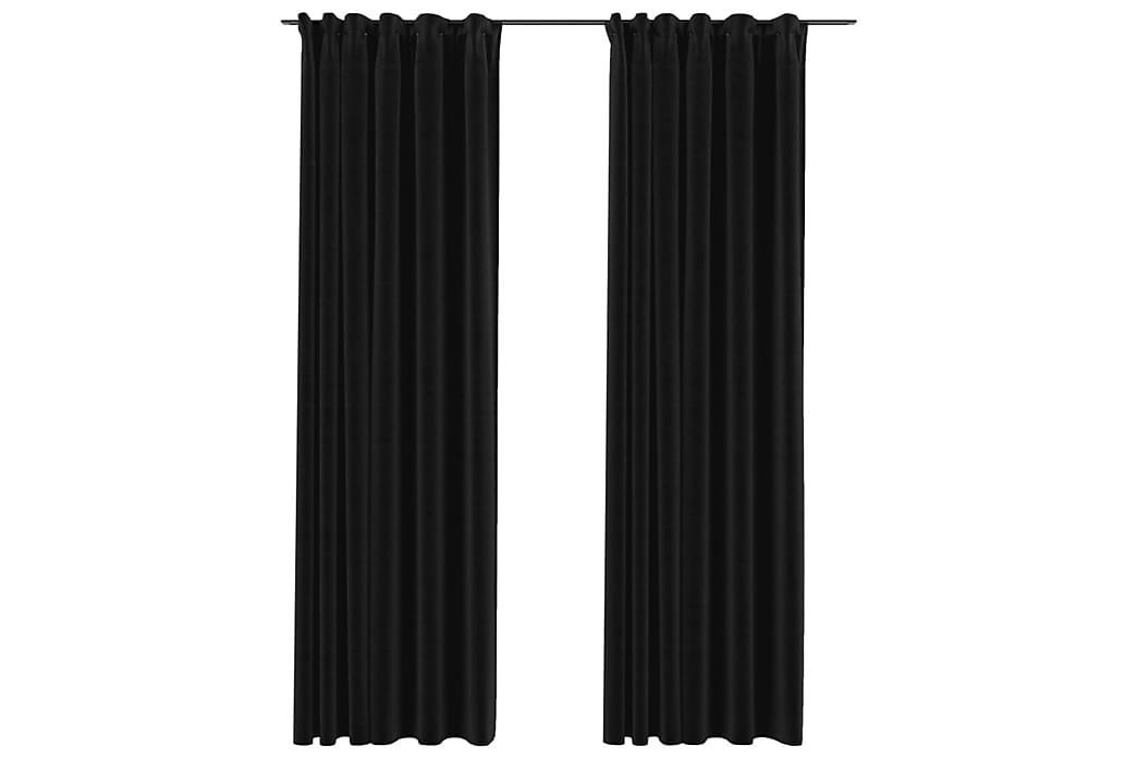 Mörkläggningsgardiner med krokar 2 st antracit 140x225 cm - Antracit - Inredning - Textilier - Gardiner