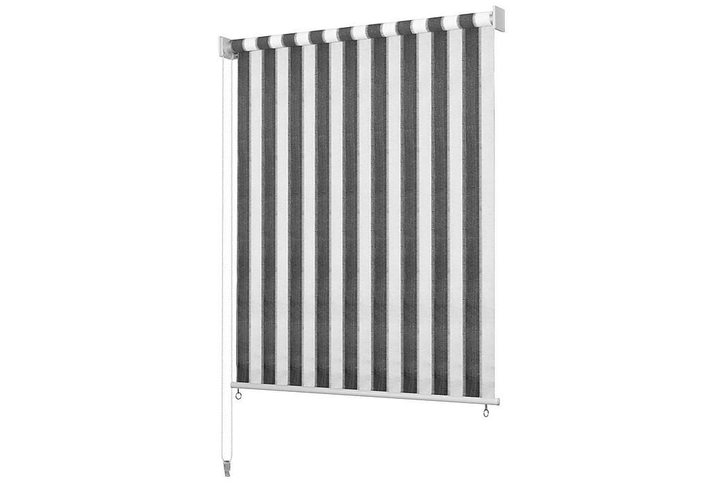 Rullgardin utomhus 120x140 cm antracit och vita ränder - Antracit - Inredning - Textilier - Gardiner