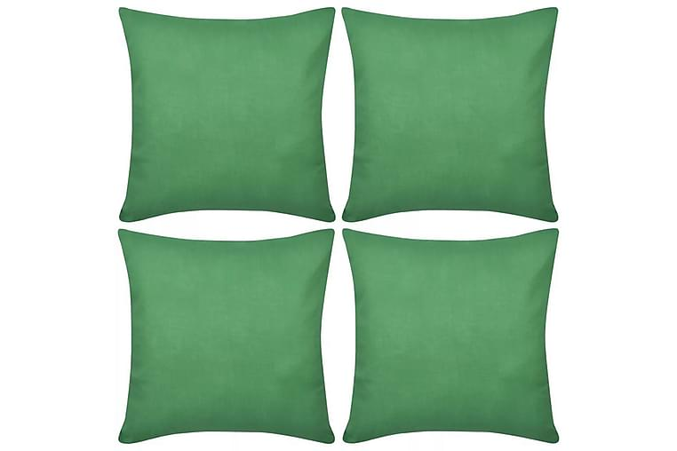 4 Kuddöverdrag i bomull gröna 50x50 cm - Grön - Inredning - Textilier - Kuddfodral