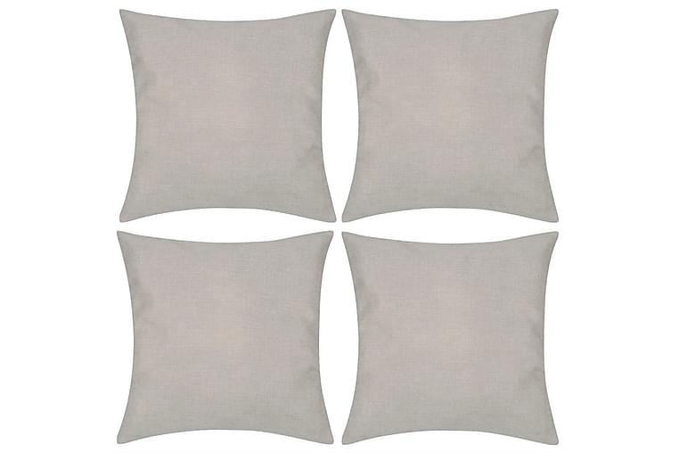 4 Kuddöverdrag i linnelook beiga 40x40 cm - Beige - Inredning - Textilier - Kuddfodral