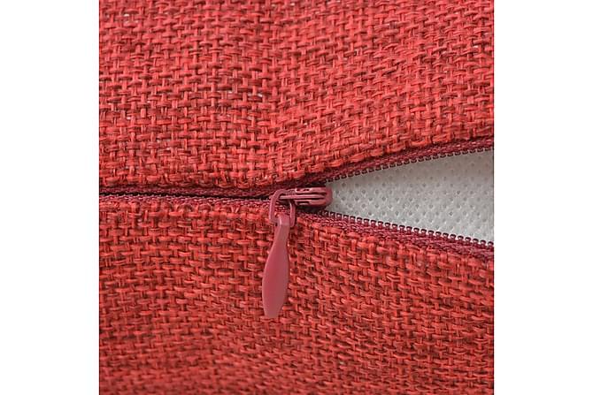Kuddöverdrag 4 st linne-design 50x50 cm vinröd - Röd - Inredning - Textilier - Prydnadskuddar