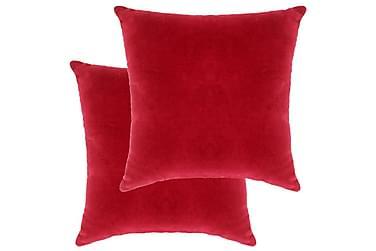 Kuddar 2 st bomullssammet 45x45 cm röd